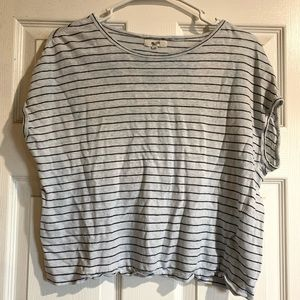 Madewell BW Striped Cap Sleeves Linen Top